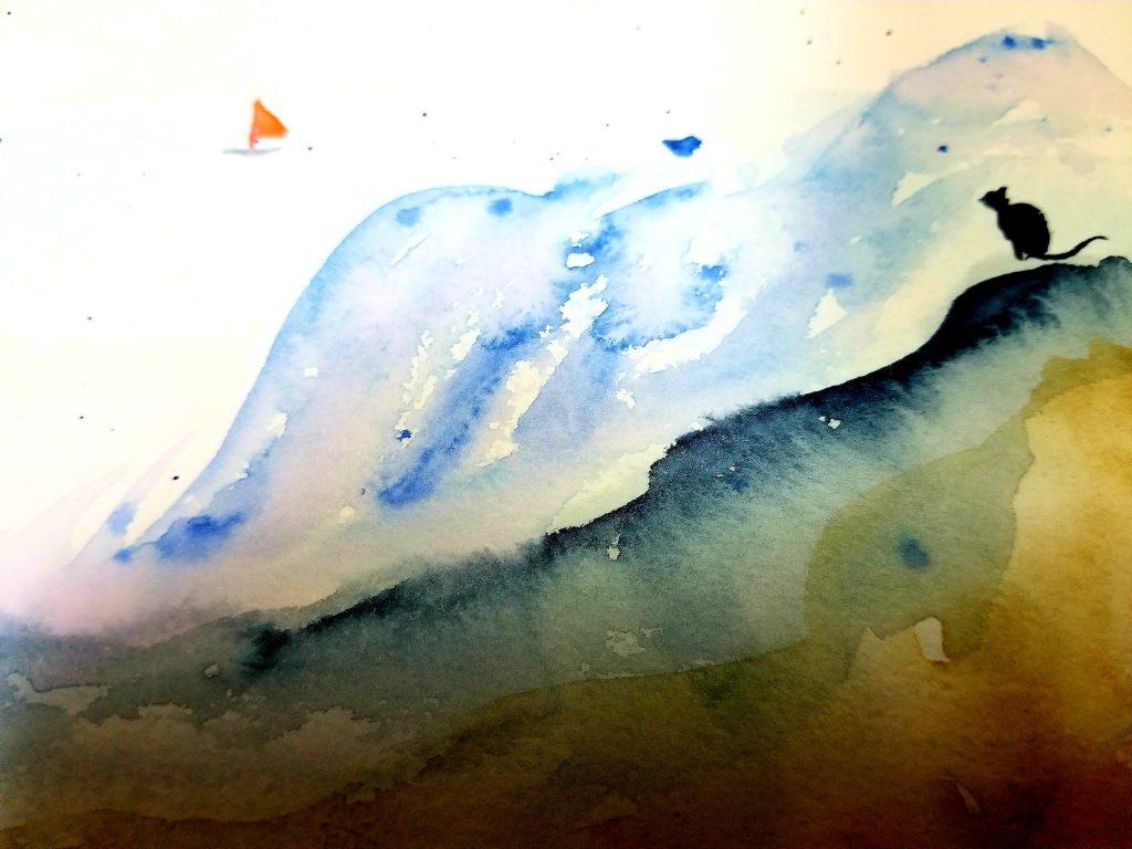 構想段階でのラフ画 「アオイと石コロ 小さな星の物語」 その2