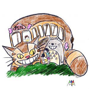 となりのトトロとネコバスとぽこちゃん ©Arito Art