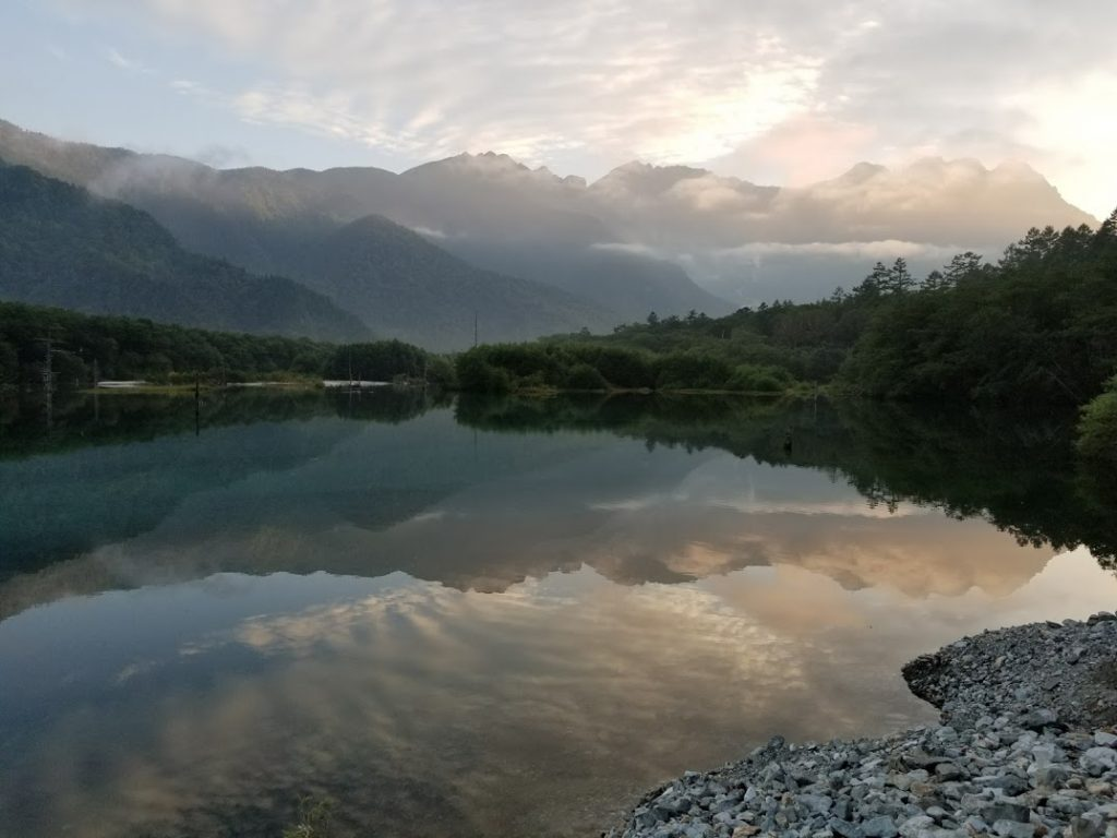 大正池に写る山々