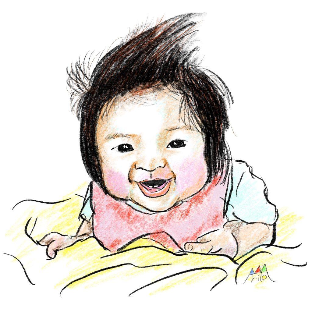 ぽこちゃんの初めての歯2本 ©Arito Art