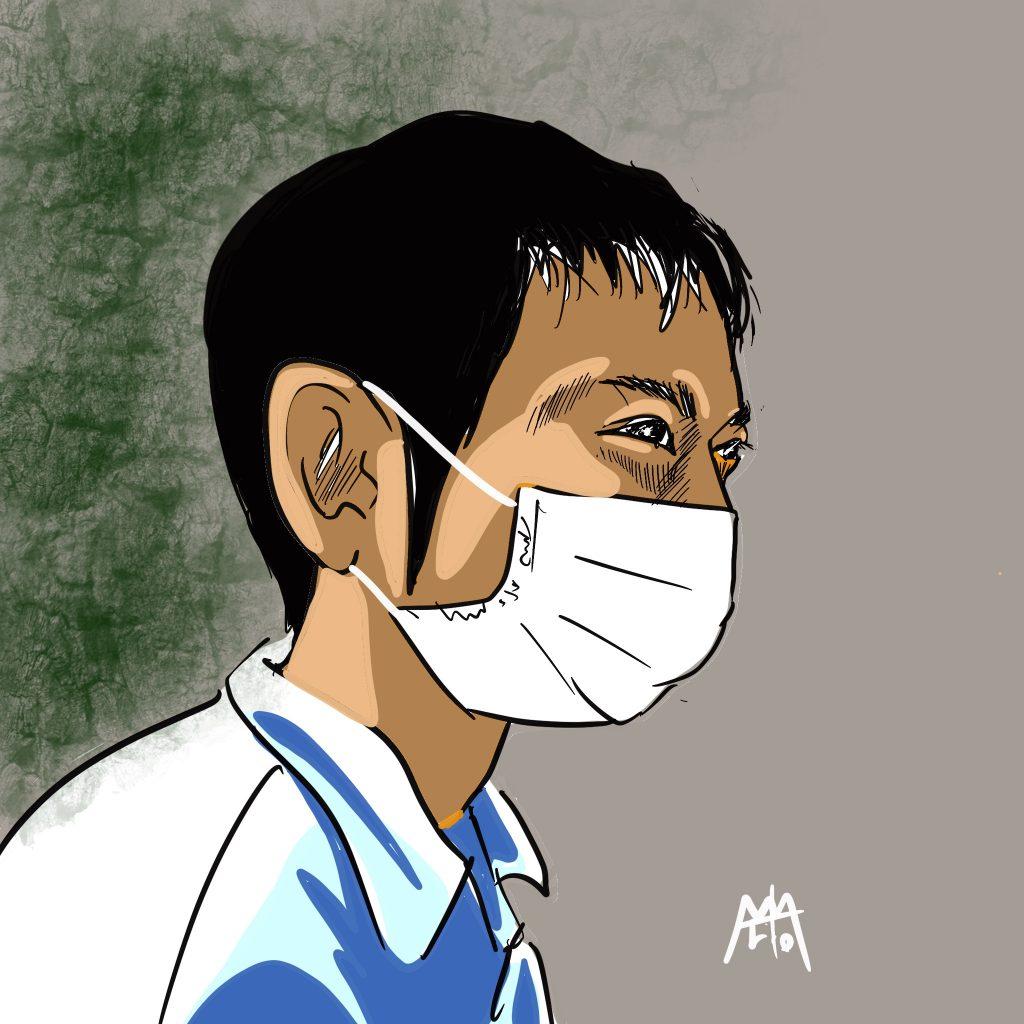 マスクゆえの苦しさ  見上げた空とマスク ©Arito Art