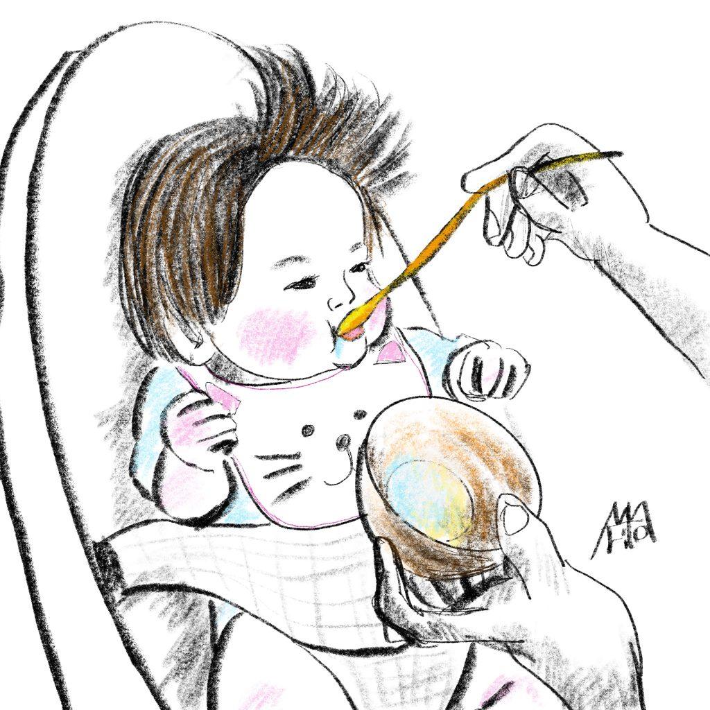 ぽこちゃんの離乳食 ファーストバイト ©Arito Art