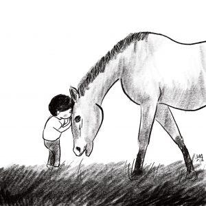 ぼく モグラ きつね 馬 挿絵馬とぼく