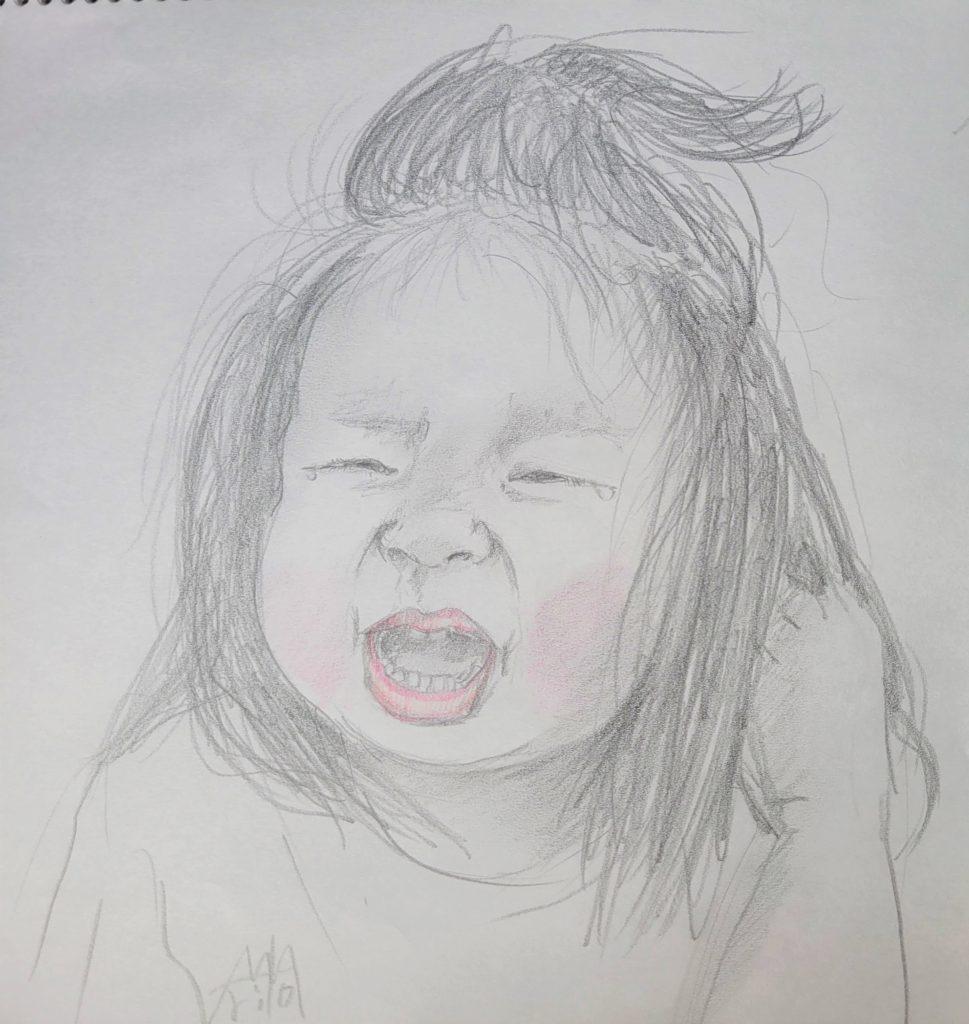泣いてるとき いつも楽しいとは限らないけど、髪をかきむしるから心配 ©Arito Art