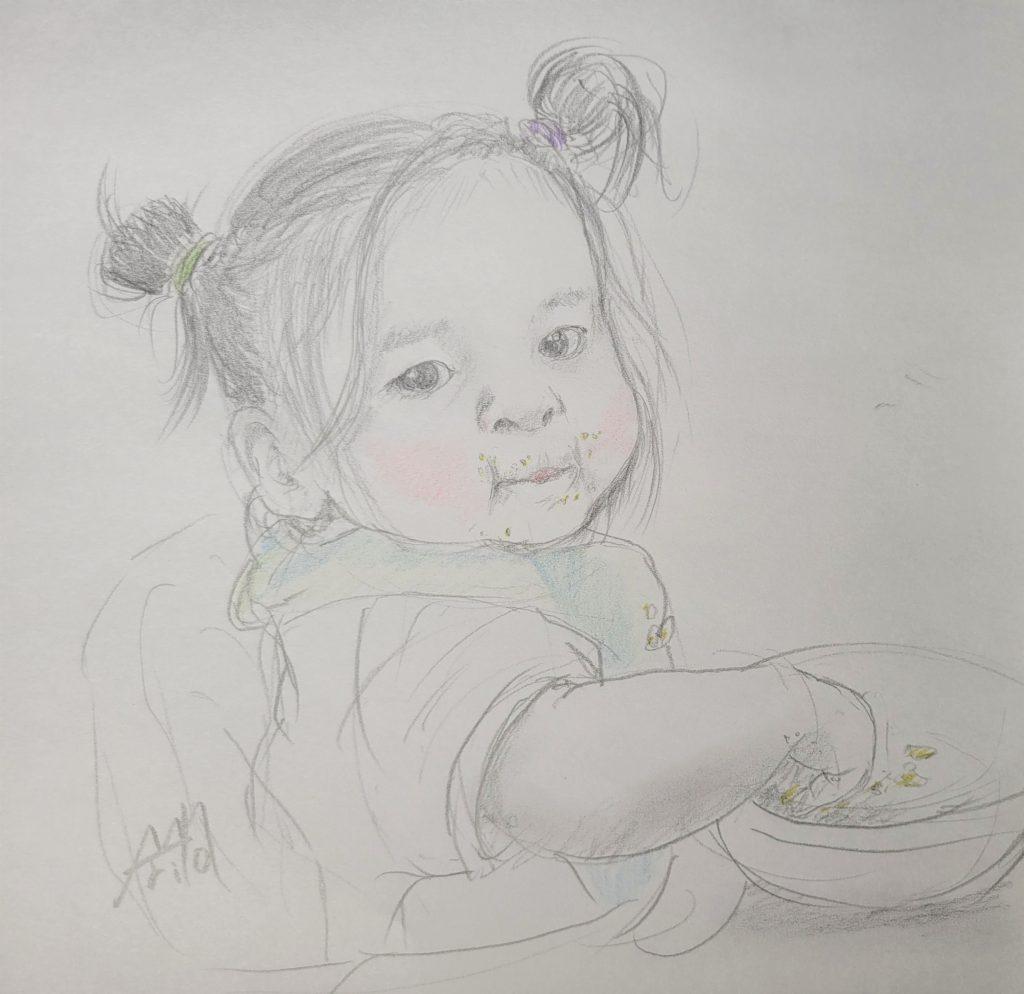 ご飯中の得意顔 ©Arito Art