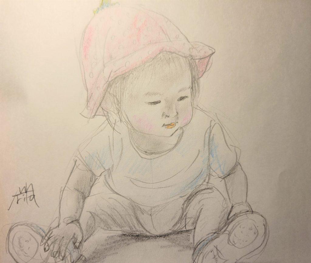 ペタンって座った 土の上に座ってる時が、大地と一体で好き ©Arito Art